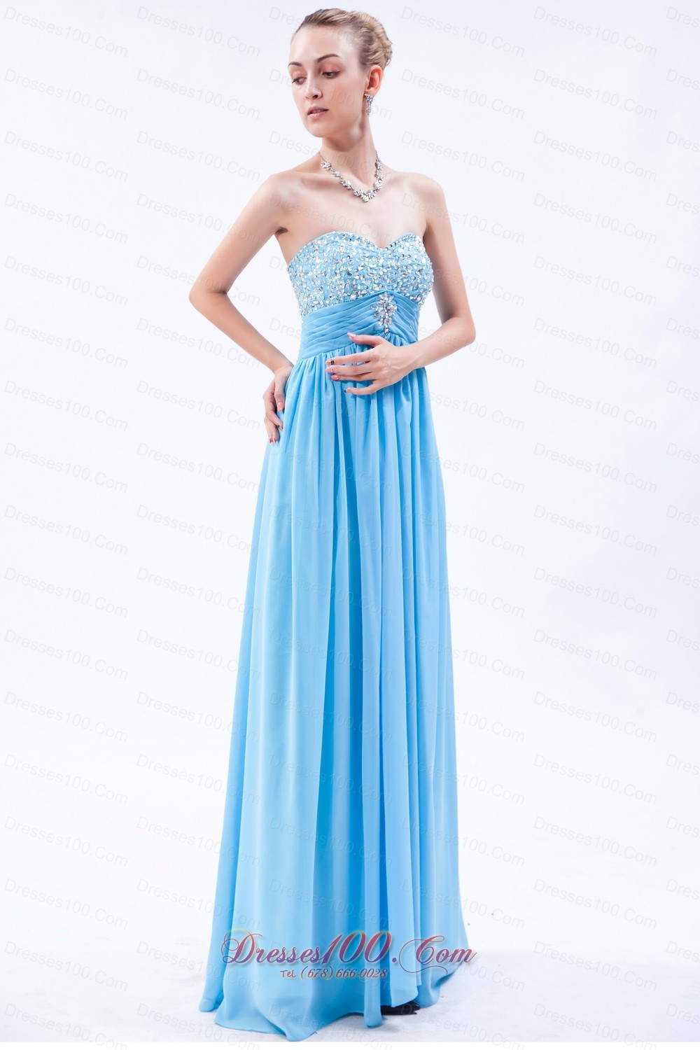 Baby Blue Empire Beaded Bust Prom Dress Pleating Discount Prom Dresses