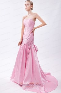 Baby Pink Mermaid prom Gowns Beading Cheap