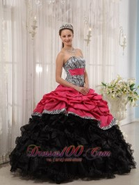 Strapless Zebra Red and Black Ball Gown for Sweet 15 Dress ...
