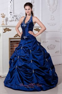 Royal Blue Halter Embroidery Floor-length Quinceanera ...