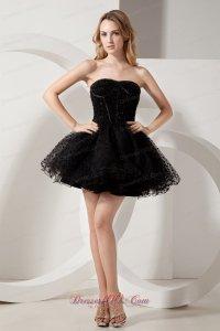 Puffy Black Short Organza Litle Black Dress with Beadwork ...