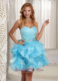 Ruffled Pleated Baby Blue Short Party Holiday Prom Dress ...