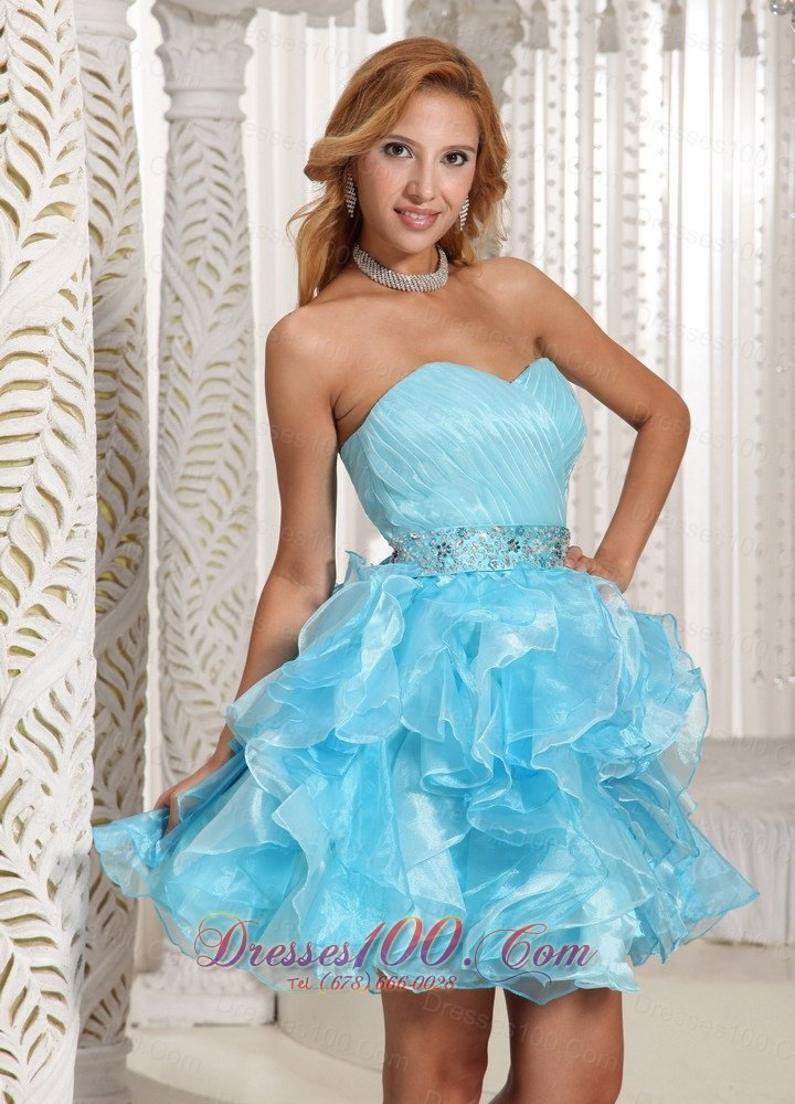 Ruffled Pleated Baby Blue Short Party Holiday Prom Dress Short Prom Dresses
