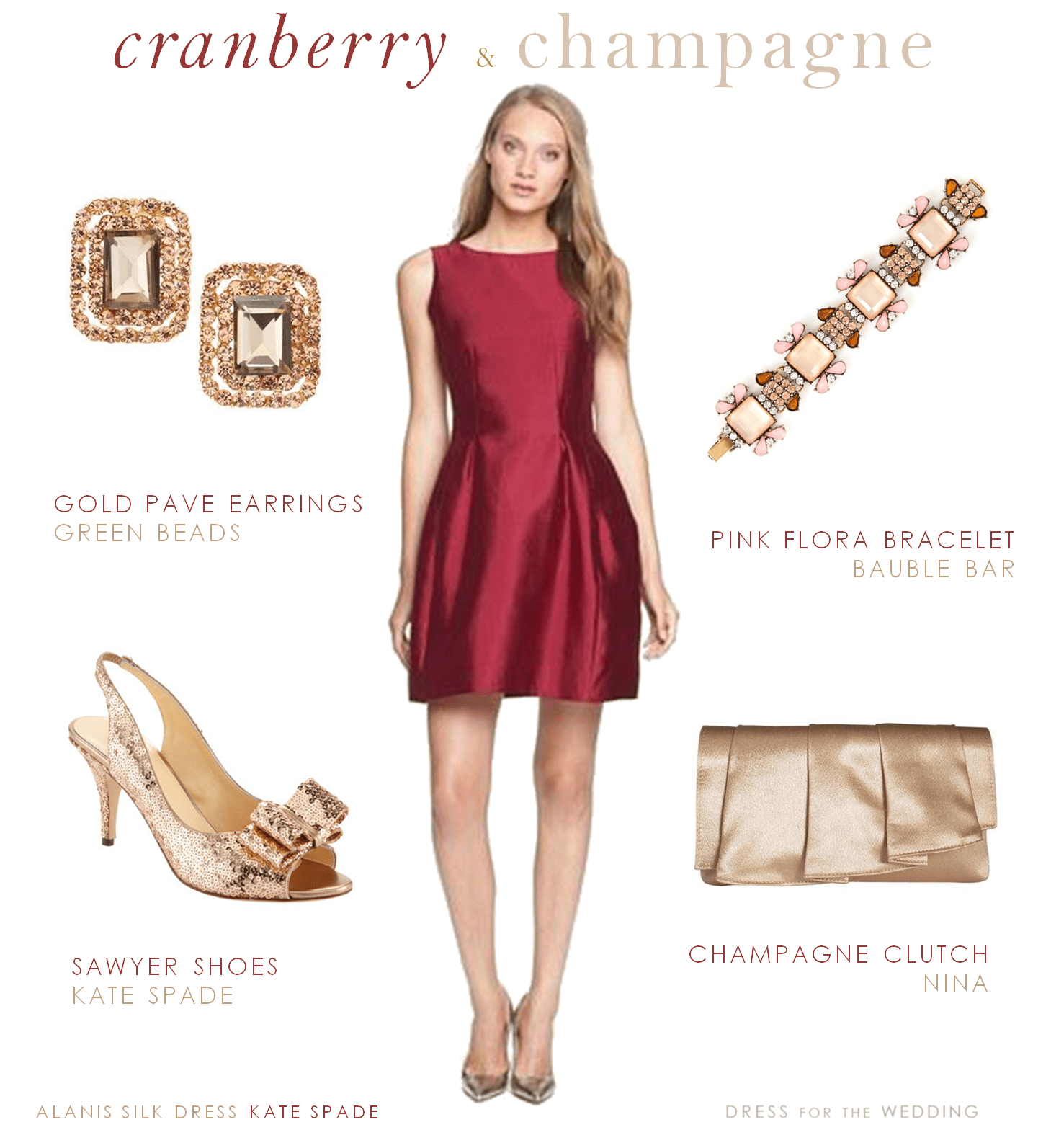 Cranberry Dress and Champagne Accessories
