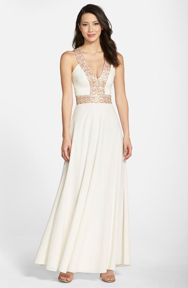 A Line Organza Asymmetrical V Neck Wedding Dress