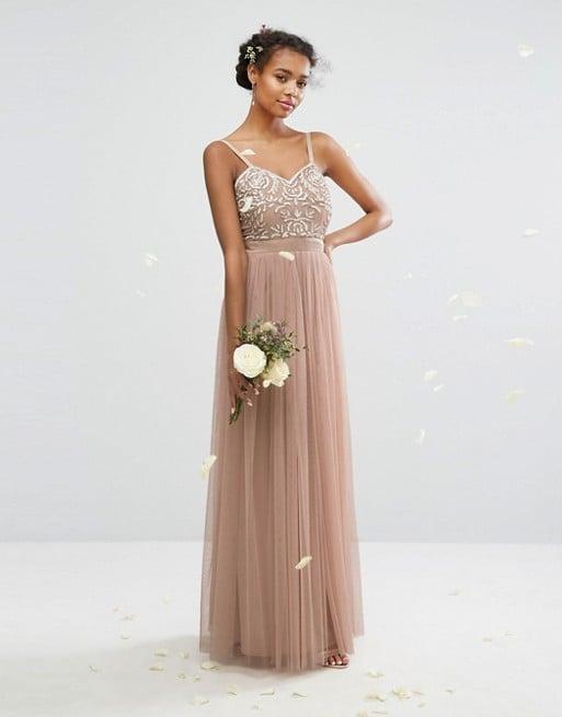 Beige Bridesmaid Dress