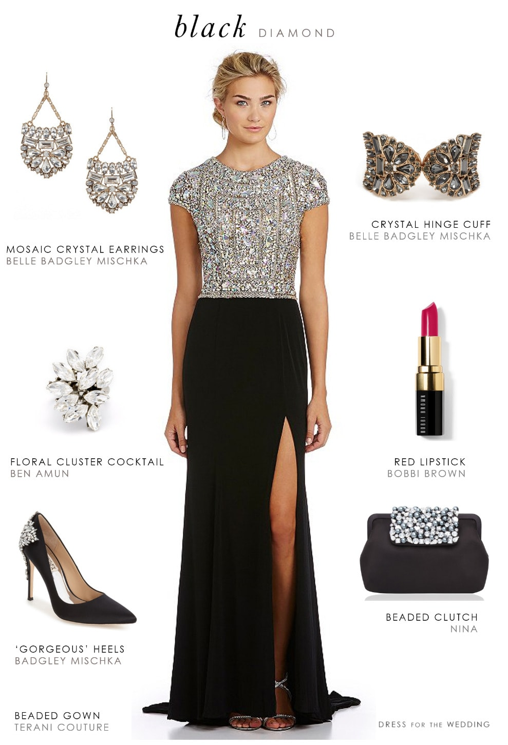Black Beaded Evening Gown  Dress for the Wedding