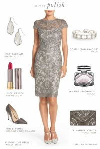 Grey Lace Sheath Dress for a Wedding Guest or Mother of