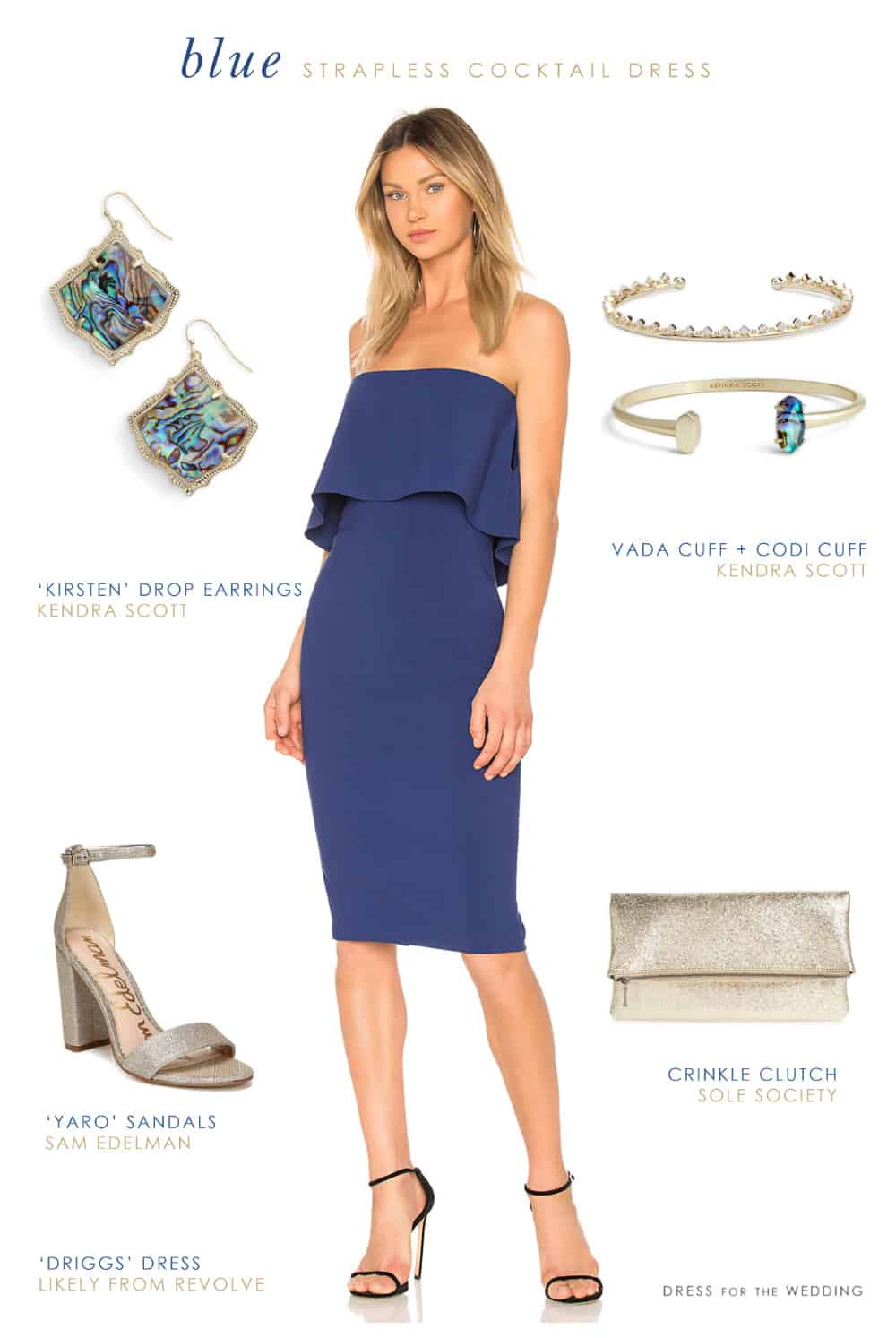 Blue Strapless Dress for a Wedding Guest  Dress for the Wedding