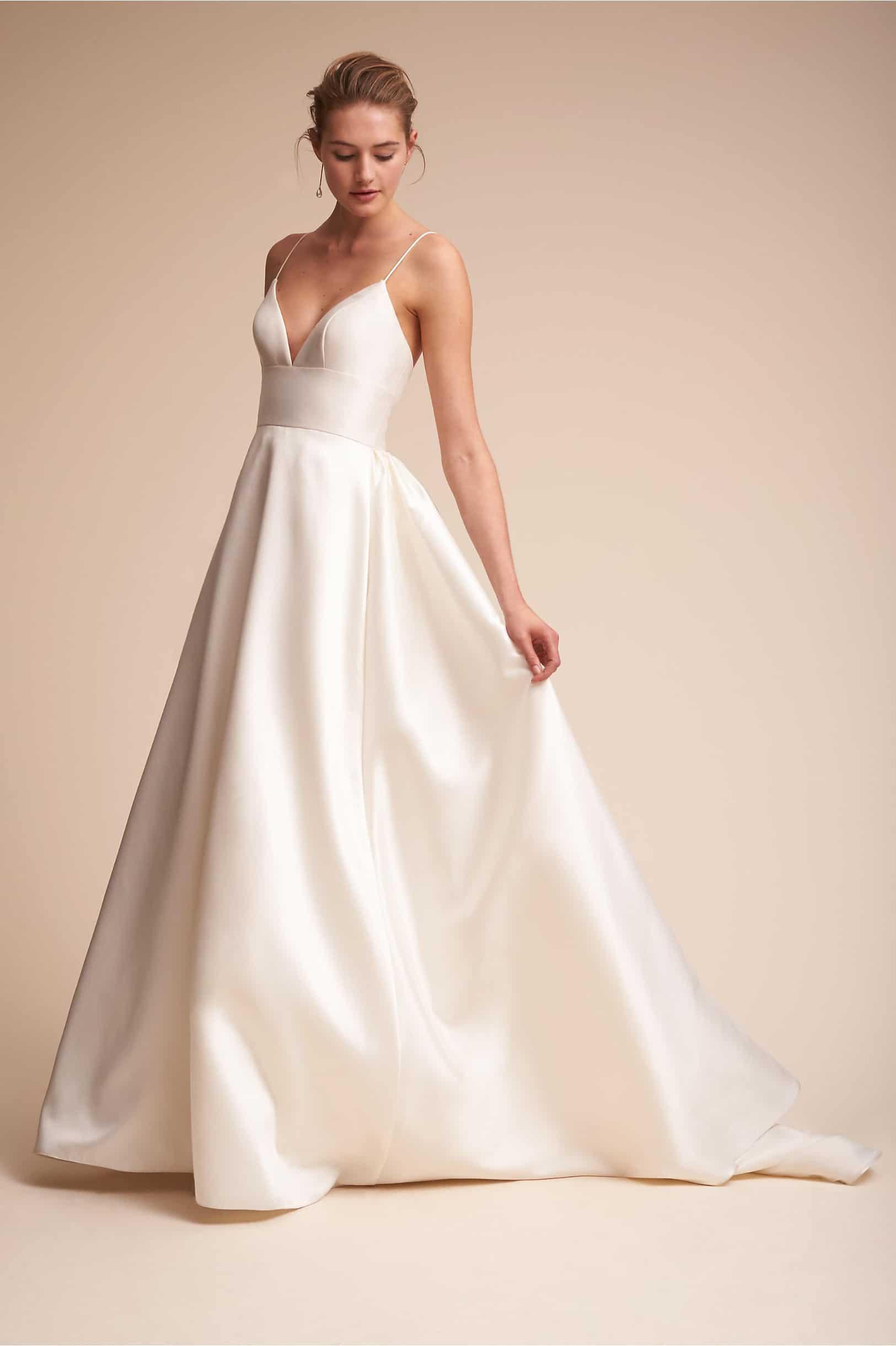 Ivory Satin Ball Gown Wedding Dress with Spaghetti Straps