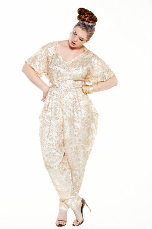 JIBRI Golden Bridal Slouch Jumpsuit