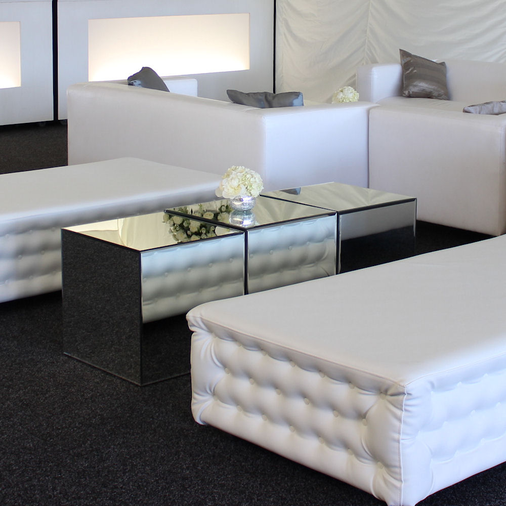mirror cube coffee table hire
