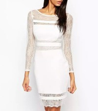 Semi-Formal Dress - Solid White / Lace Trim / Knee Length