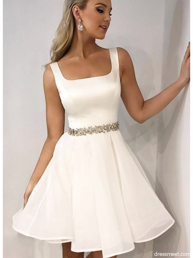 Cute A Line Square Neck Open Back White Short Homecoming Dresses with Beading Short Formal Prom