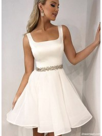 Cute A Line Square Neck Open Back White Short Homecoming ...