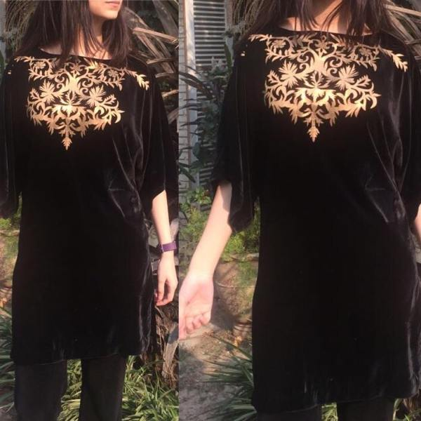 Black Velvet shirt with beige embroidery work on neck