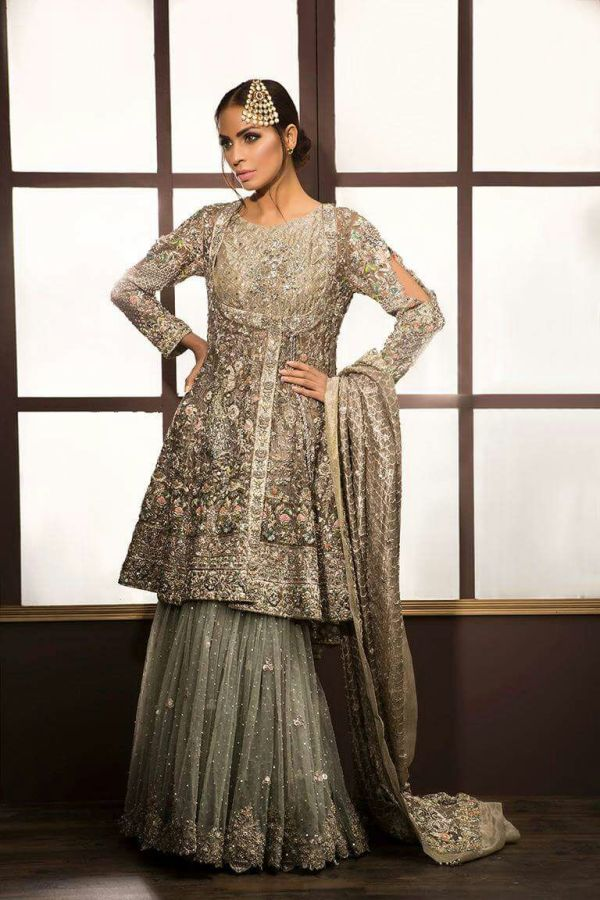 Bridal Angrakha Style With Sharara for Walima Reception