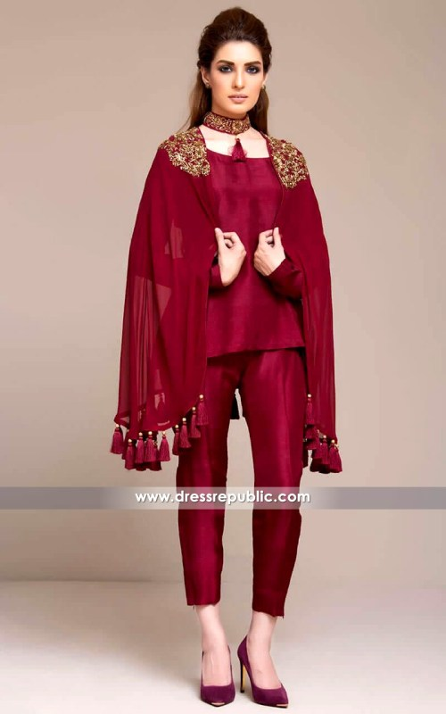 DR14135 - Dark Burgundy Cape Dress