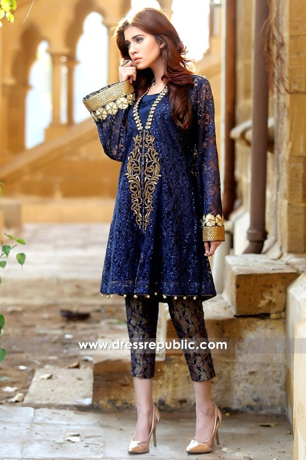 DR14161 - Blue Lace Net Jacket Dress