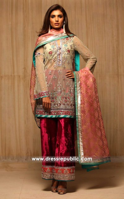 dr14171 - Beige Tulle Net by Sania Maskatiya Collection 2017