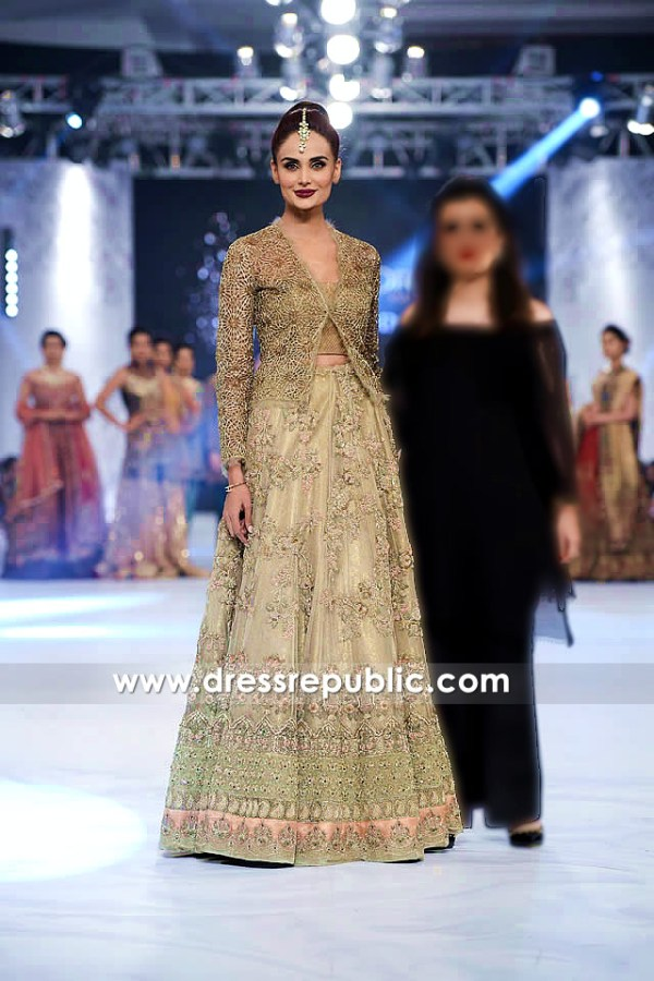 DR14223 - Dusty Gold Pakistani Long Gown 2017