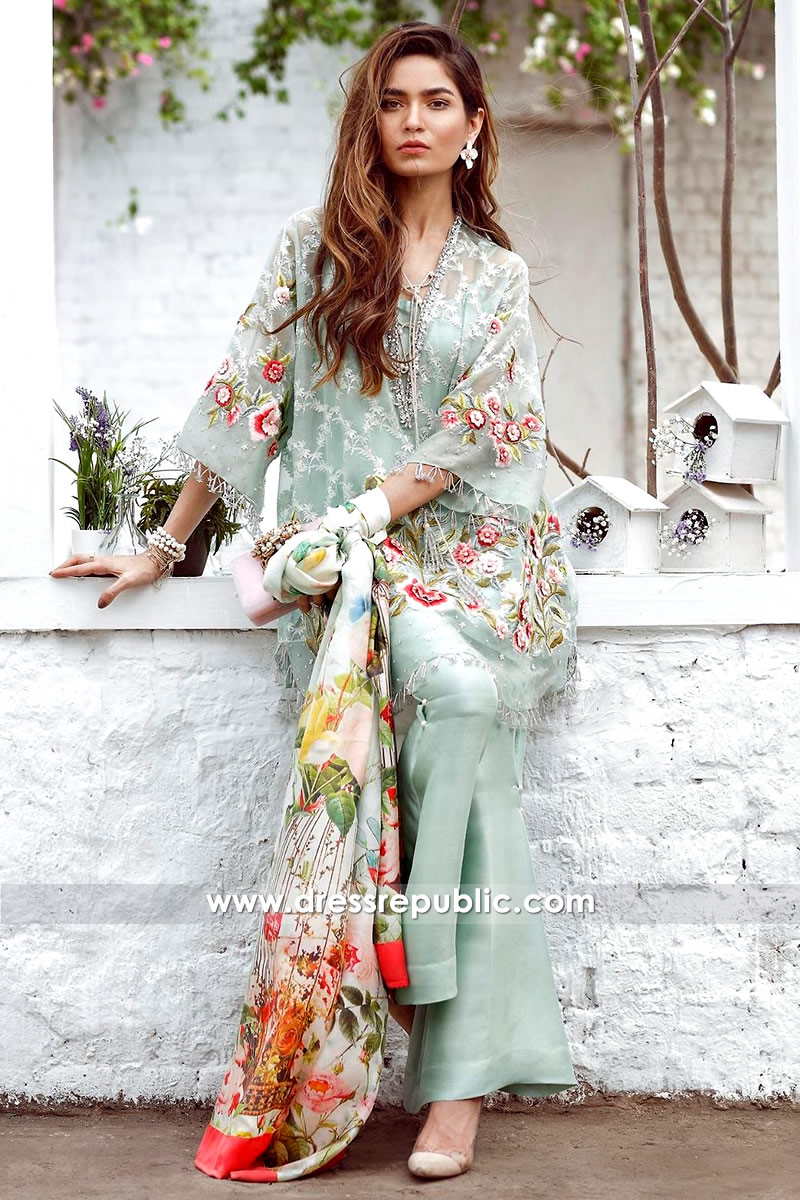DR14304 - Designer Pakistani, Indian Party Dress in Light Colors