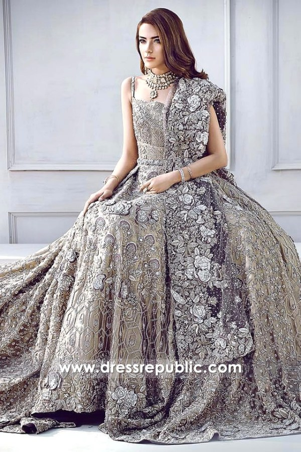 DR14311 - Sandy Gold Valencia Heavy Embellished Bridal Lehenga Gown and Dupatta. Buy Bridal Lehenga Choli for Wedding and Walima Reception