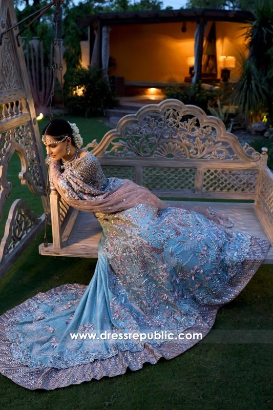 DR14320 - Turquoise Bridal Lehenga Skirt with Beige Blouse Top Buy in Sweden