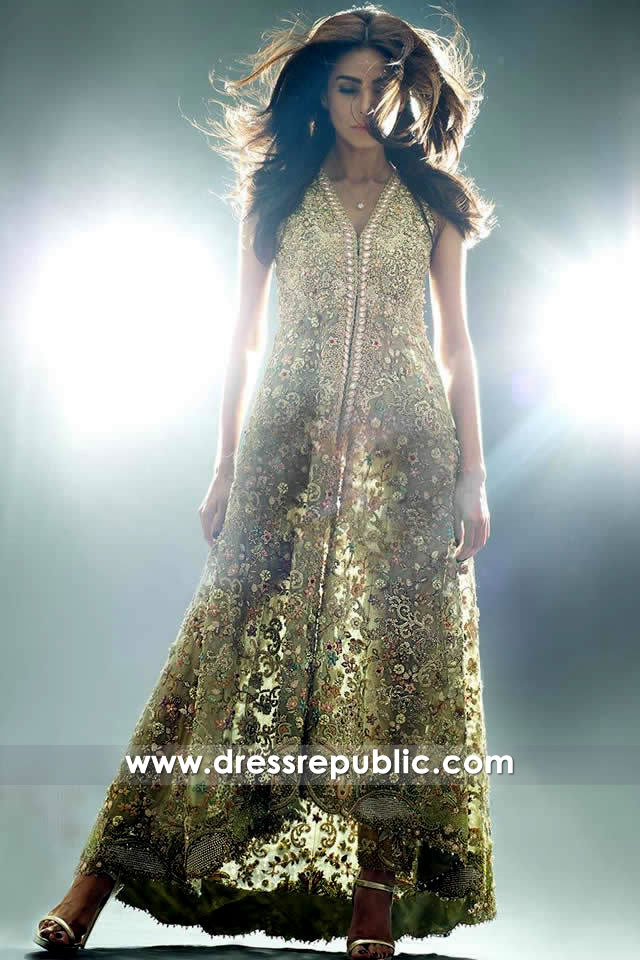 DR14346 - Champagne Special Occasion Dress with Heavy Floral Work