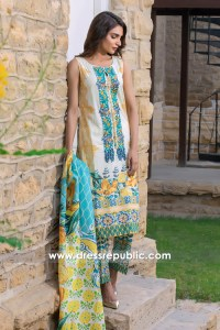 DRP6784 - Firdous Embroidered & Printed Cambric Cotton