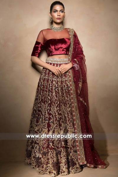 DR14513 - Mahgul Bridal Collection Ruby Wine Bridal Wear Lehenga