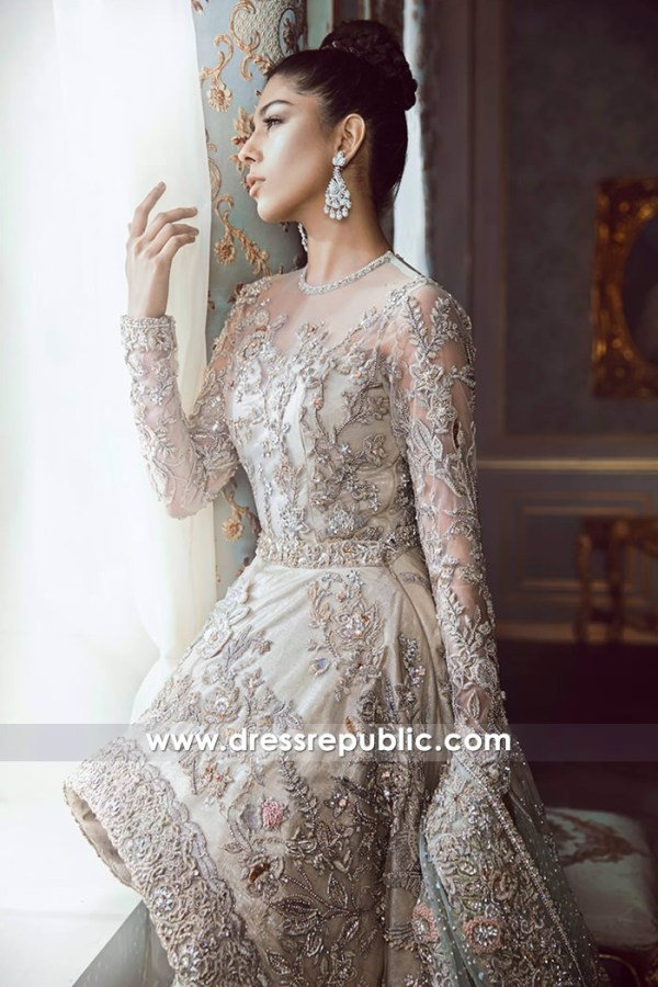 DR14535b Formal Heavy Bridal Lehenga With Long Train and High-Low Hemline