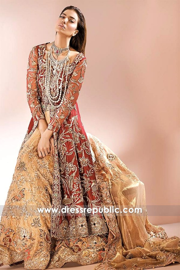DR14584 Red Bridal Lehenga Choli by Pakistani Designer Ammara Khan