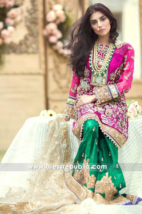 DR14648 Mehndi Dress Design in Green | Mehndi Dress Color Combinations