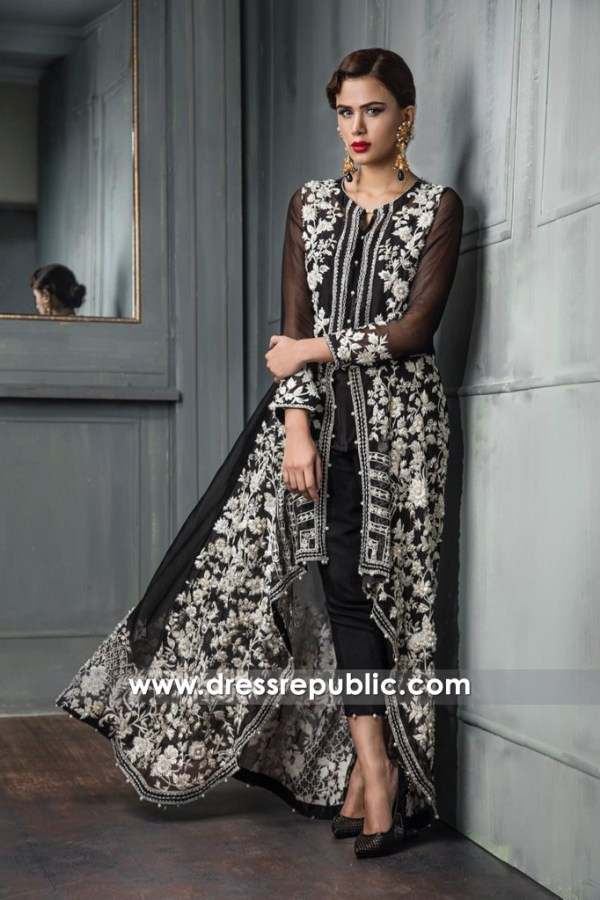 DR14666 Black Pakistani Dresses 2018 Shop Black Dress USA, UK, Canada