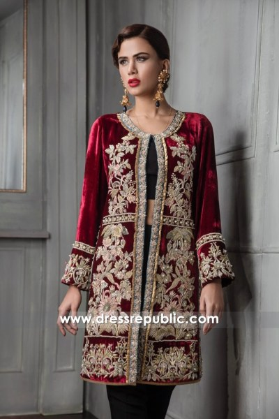 DR14667 Velvet Embroidered Jacket Dress Pakistani Indian Wedding Guest Wears