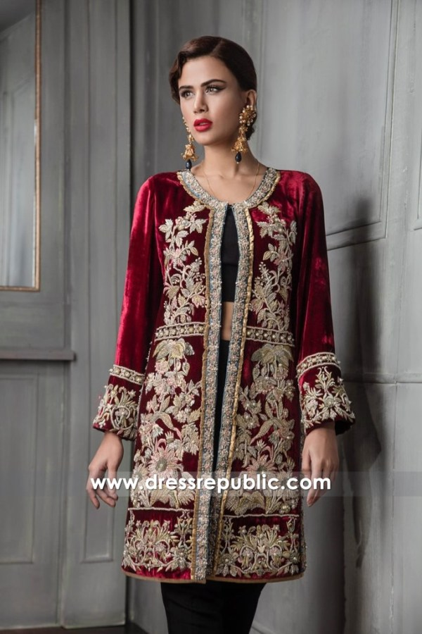 DR14667 Velvet Embroidered Jacket Dress Pakistani Indian Wedding Guest Wears