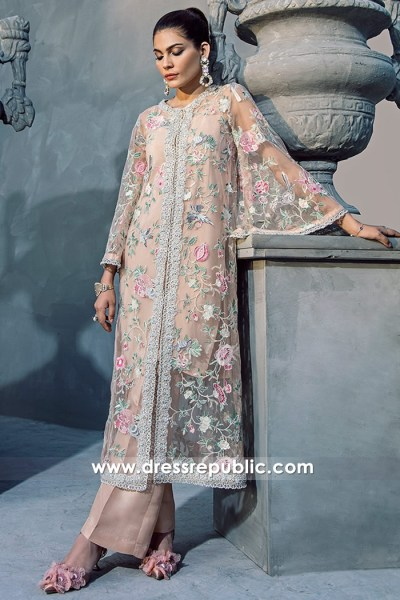 DR14697 Long Wedding Guest Dresses 2018 With Floral Embroidery in USA