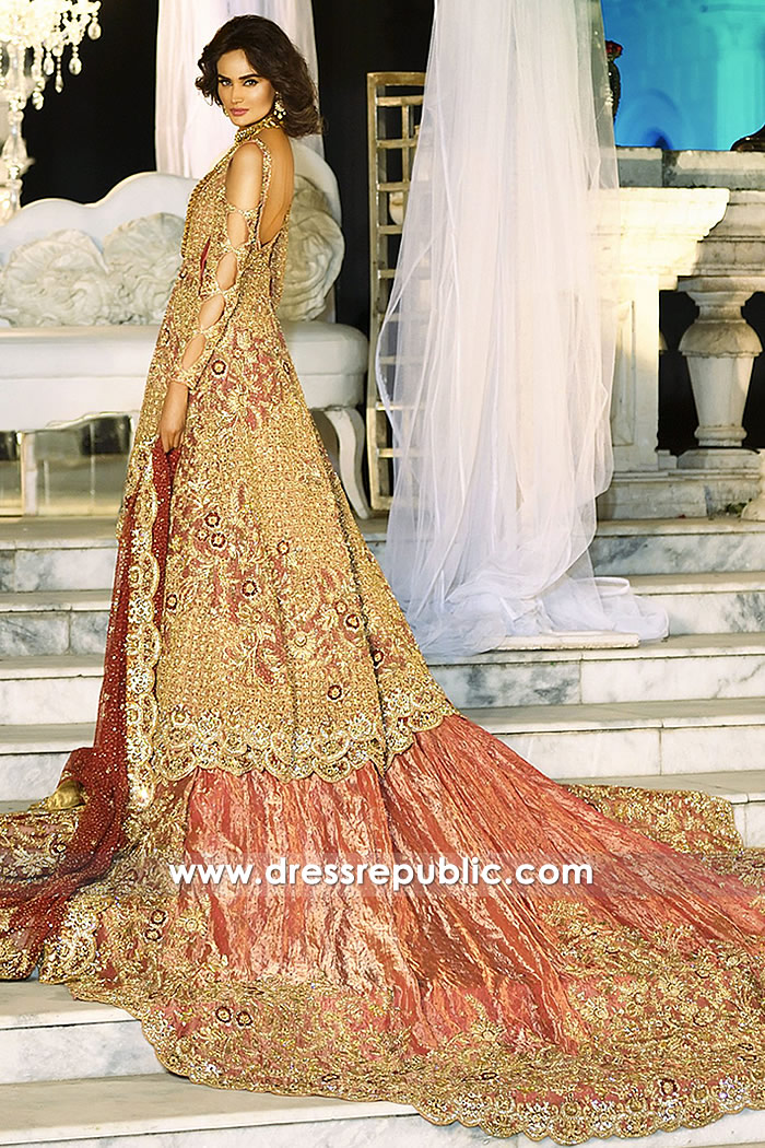DR14713 Red Bridal Lehenga with Peplum Shirt 2018 Collection USA, UK, Canada