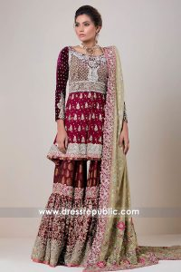 DR14729 Zainab Chottani Bridal Collection 2018 UK, Pakistani Designer Gharara