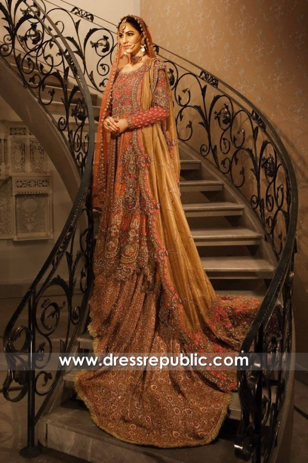 DR14778d Pakistani Bridal Dress with Long Train 2018 USA, UK, Canada, Australia