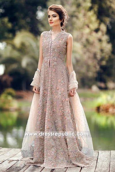 DR14800 British Asian Long Gown for Nikkah, Engagement, Special Occasion 2018