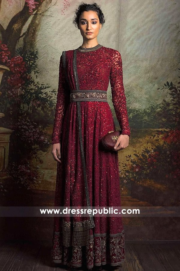 DR14822 Red Wine Formal Long Gown for Indian Wedding Party & Sangeet