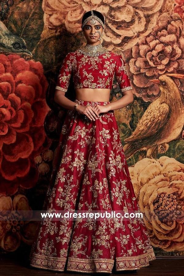 DR14824 Sabyasachi Red Bridal Lehenga 2018 London, Manchester, Birmingham