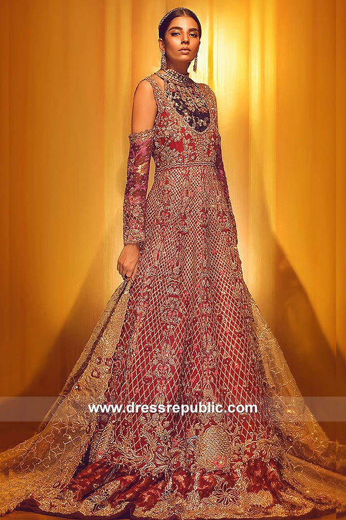 DR15055 Cardinal Red PLBW Bridal Lehenga 2018 Collection USA, UK, Canada