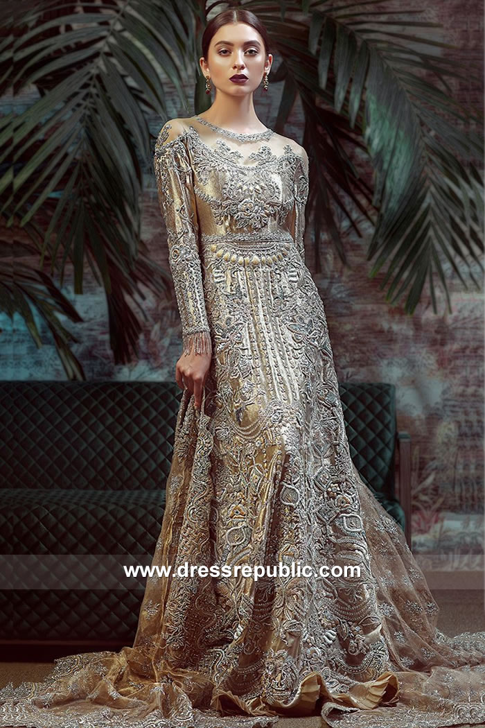 DR15061 Golden Bridal Lehenga Online Shopping Asian Bridal Lehenga USA