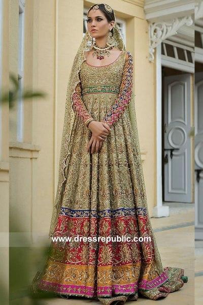 DR15103 Traditional Pakistani Designer Bridal Dress in USA Online Shopping