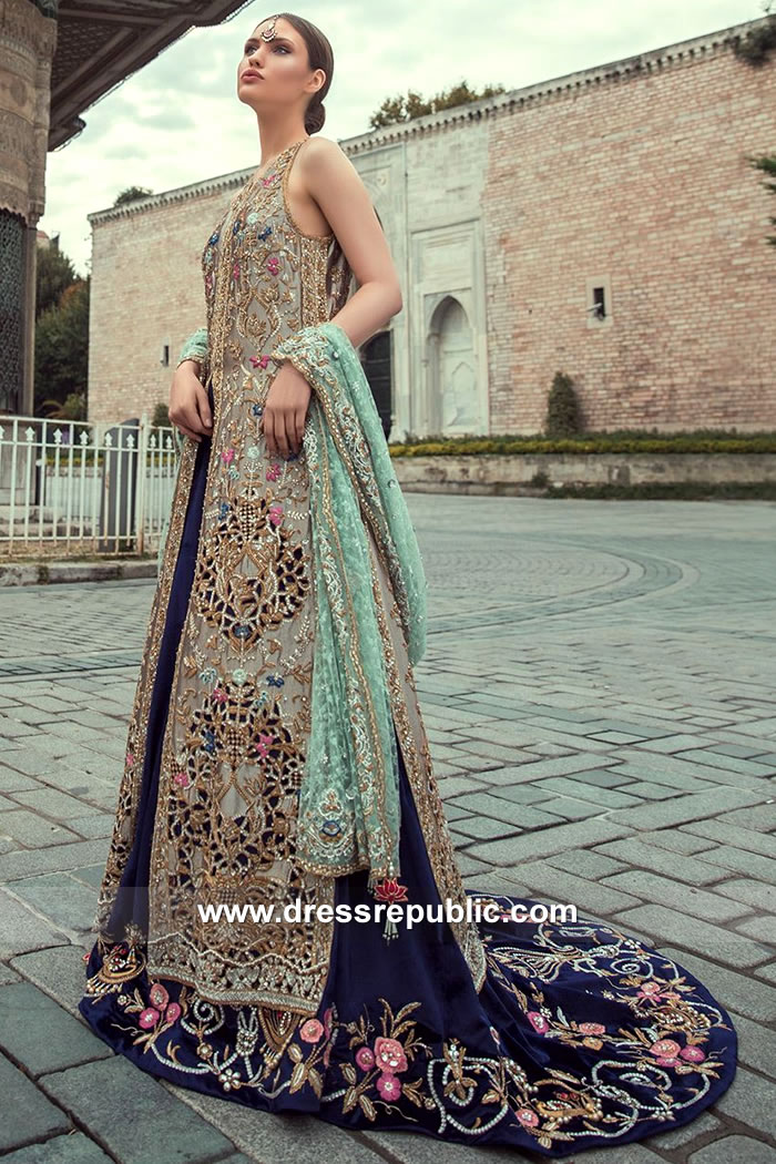 DR15140 Designer Lehenga with Long Jacket 2018 Designs Buy Online in UK