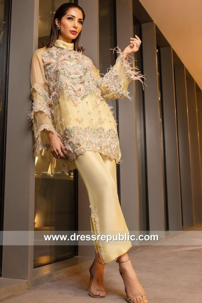 DR15151 Maize Yellow Trousers Suit with Hand Work Buy Online in UK