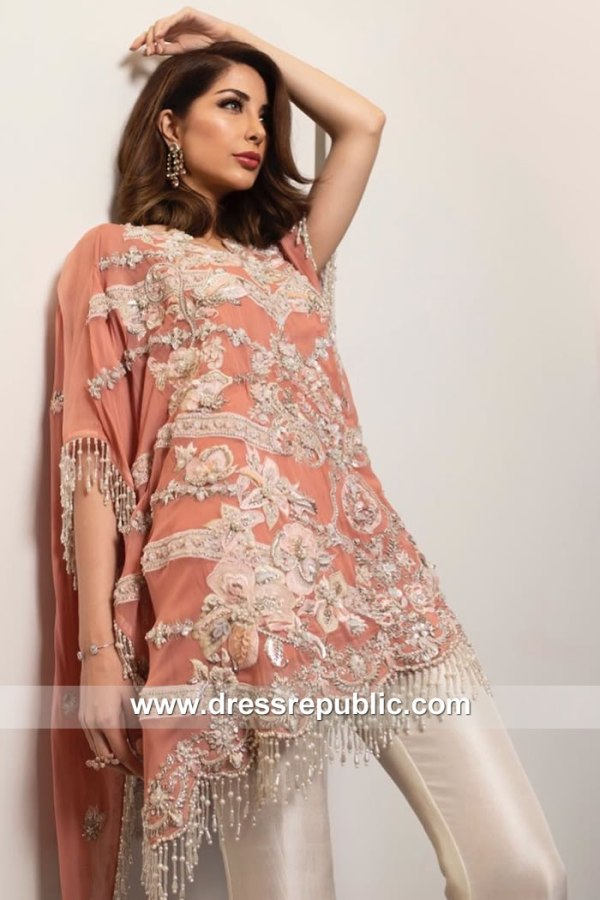 DR15153 Apricot Ritzy Pakistani Designer Party Dress Birmingham, West Midlands